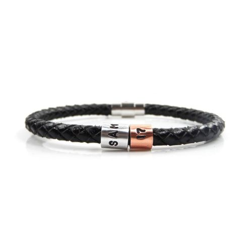 Personalised 17th Birthday Leather Bracelet – Gift Boxed – Free Delivery